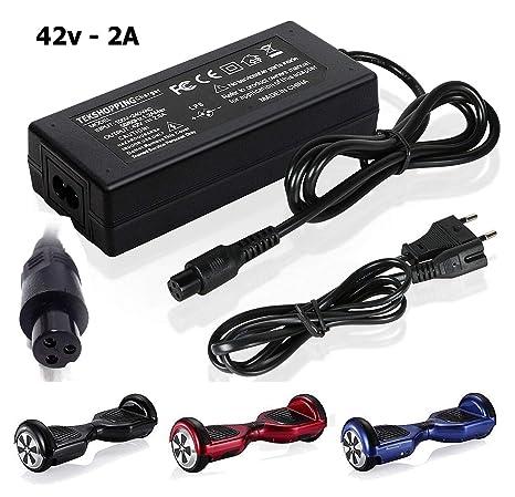 Tek® 42 V 2 A alimentación AC adaptador para monopatín monociclo Hoverboard Balance de dos ruedas Smart Drifting Board, cargador universal para ...