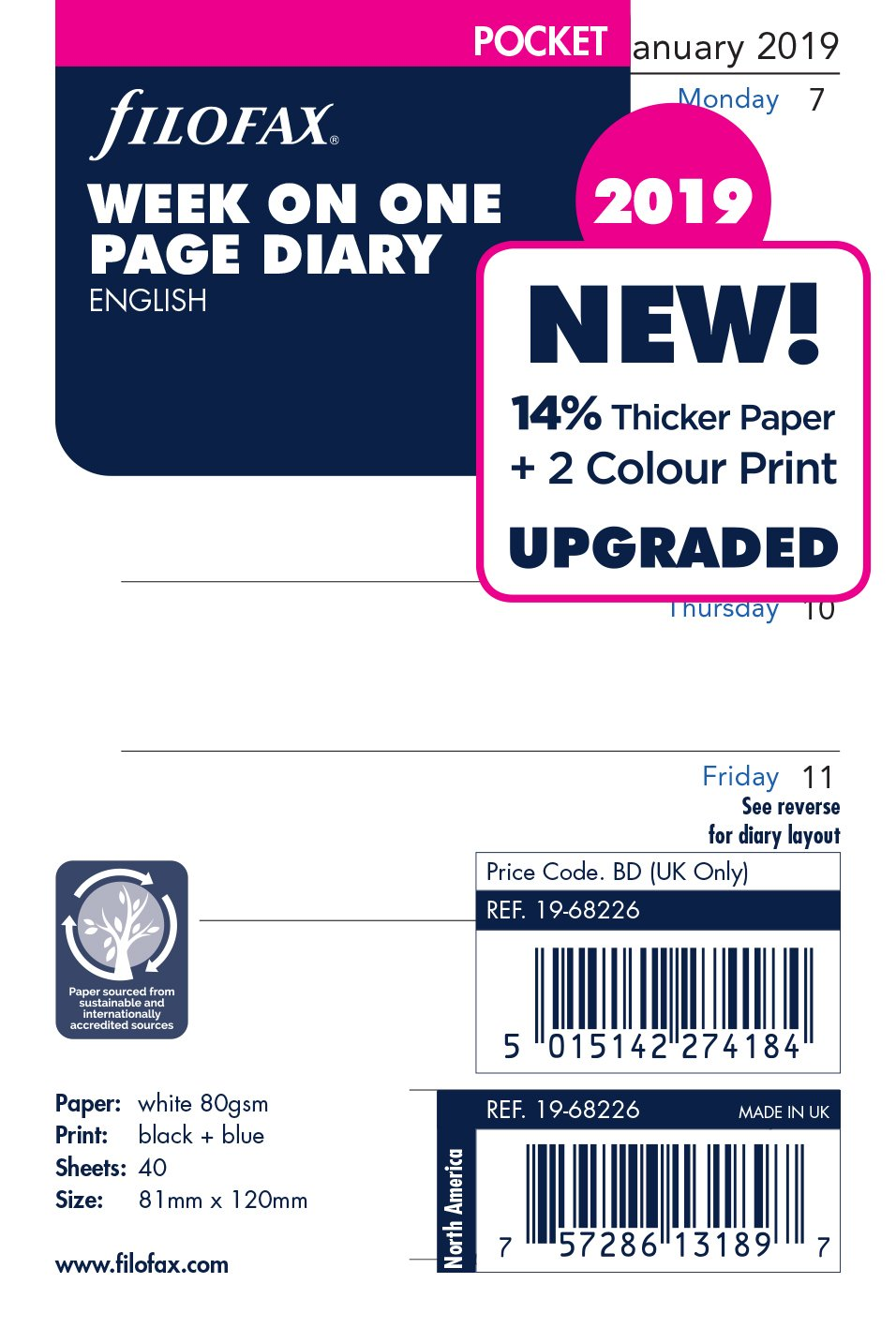Filofax 19-68226 Pocket Week Per Page 2019 Diary