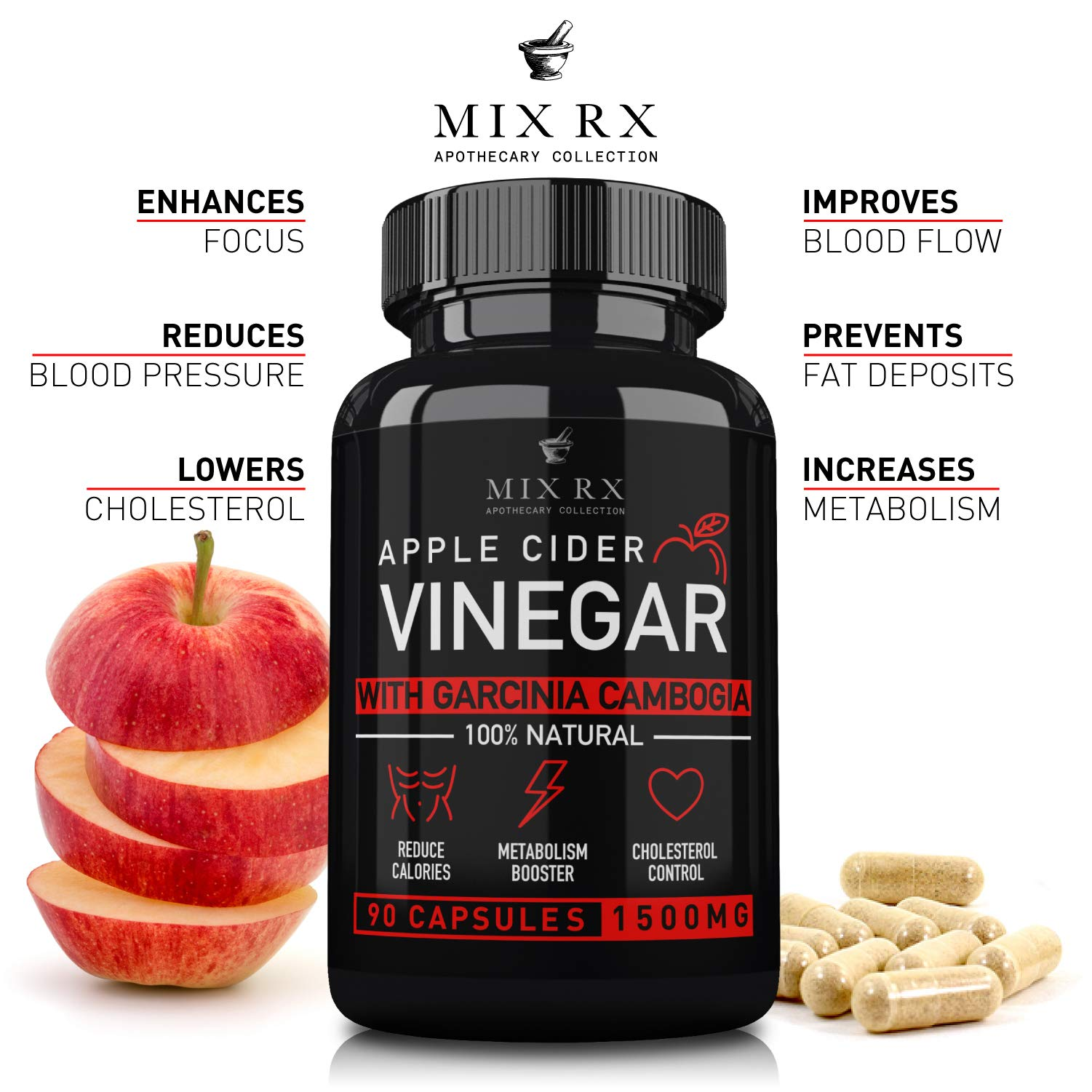 (2 Pack | 180 Pills) Apple Cider Vinegar Capsules w/ Garcinia Cambogia (1500mg) ACV Tablets - Fiber Supplement - Detox Cleanse Relief - Heartburn, Digestion, Organic Weight Management - 3 Month Supply