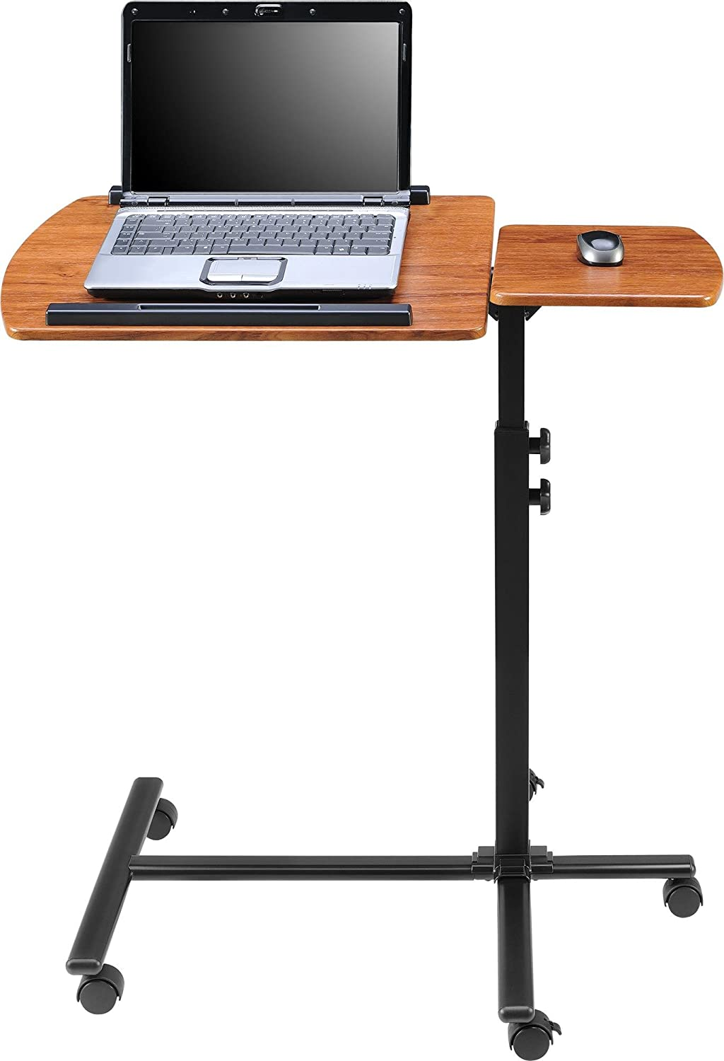 laptop computer carts adjustable wheels desk pin portable rolling table on black height