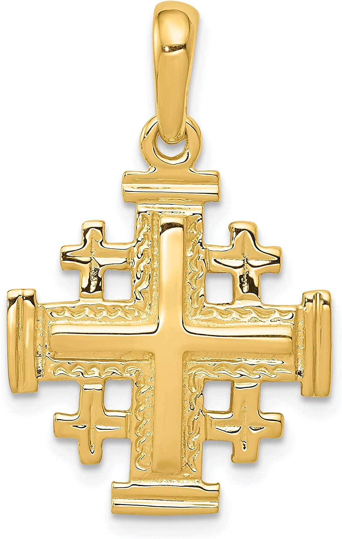 14K Jerusalem Cross Charm Pendant