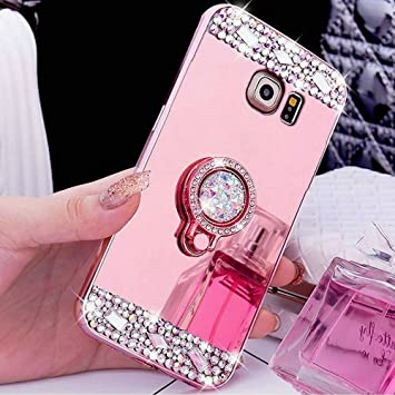 Emaxelers Galaxy S5 Case Mirror Silicone For Girls Crystal Diamond Glitter Soft Tpu Holder Makeup Anti Scratch Back Cover For Samsung Galaxy S5 Rose