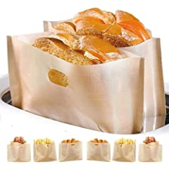 Product Image: Non Stick Toaster Bags Reusable and Heat Resistant Easy to Clean,Perfect for Sandwiches Pastries Pizza Slices Chicken Nuggets Fish Vegetables Panini & Garlic Toast (4)