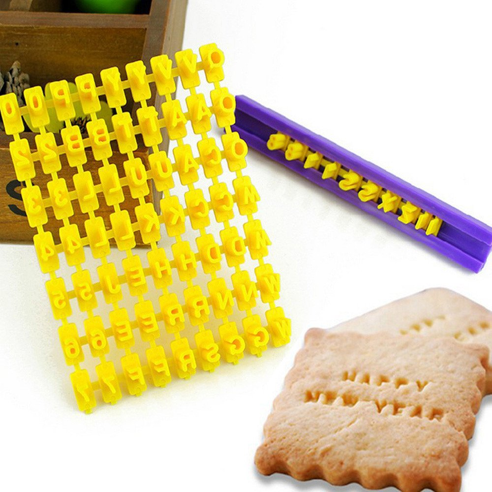 ♛Euone Slicer Cutting ♛Clearance♛, New Alphabet Letter Number Cake Mould Biscuit Cookie Press Stamp DIY