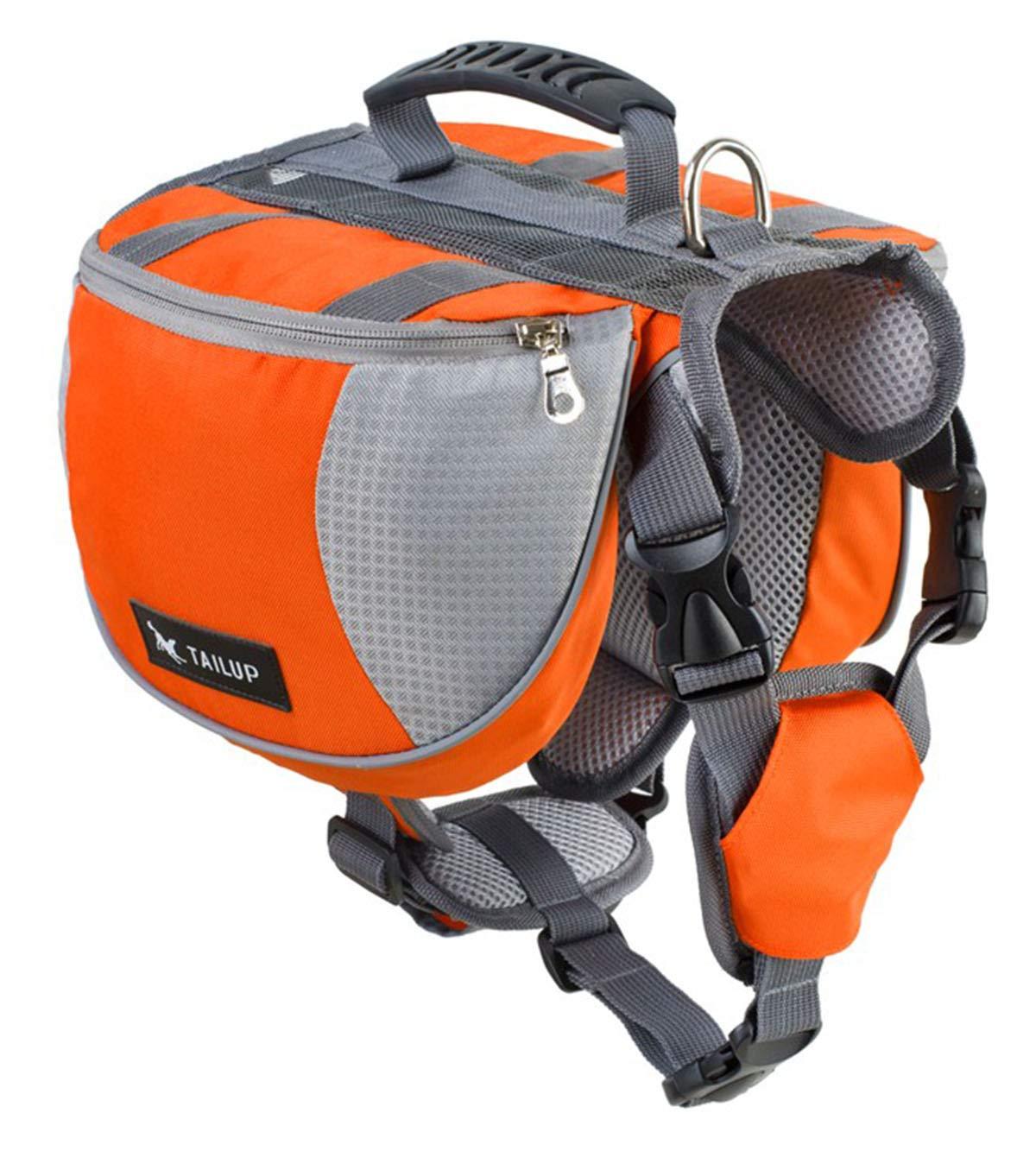 orange L orange L PETFDH Luxury Pet Outdoor Backpack Large Dog Adjustable Saddle Bag Harness Carrier for Traveling Hiking Camping orange L