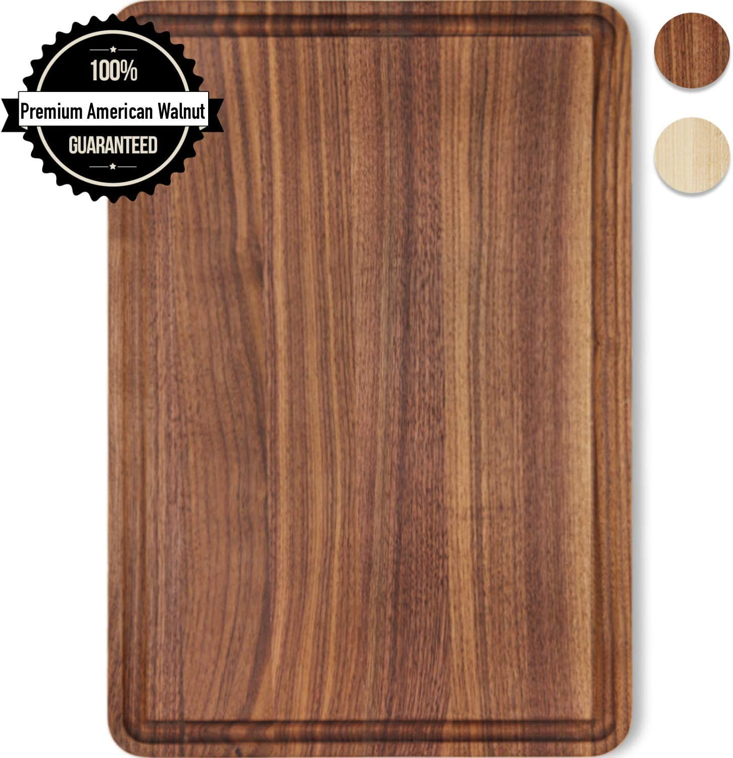 Small Cutting Board Walnut Wood 12x8 Inch Reversible with Juice Groove, Chopping Board Carving Cheese Charcuterie Serving Handmade by AzrHom