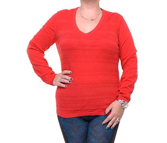 ce841c6d3e Tommy Hilfiger Womens Knit Ribbed Trim V-Neck Sweater Red M at ...