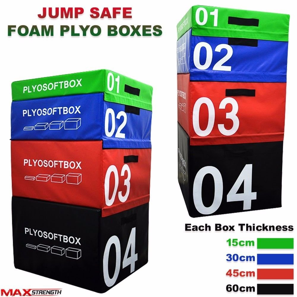 MAXSTRENGTH PLYOMETRIC Soft Schaumstoff Jump Box Klettverschluss Fitness Crossfit Gym Training Jumping Set