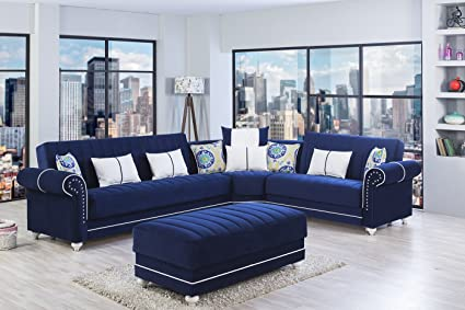Amazon Com Royal Home Sectional Riva Dark Blue Functional Sectional Kitchen Dining