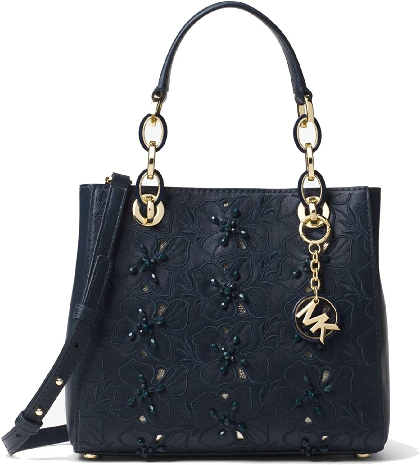 MICHAEL Michael Kors Cynthia Small Floral Embroidered Leather Satchel Bag, Admiral