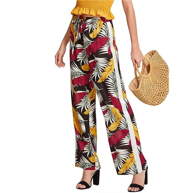 Amazon.com: Pantalones de pierna recta con estampado ...
