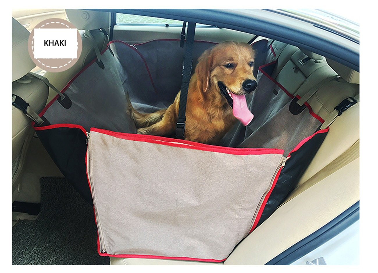 Khaki Black Manba Car Bench Seat Cover Hammock Luxury Water Resistence Car Seat Cover For Medium & Large Dogs Pet (color   Khaki)