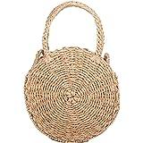 HOSPORT Women Straw Handbag Round Straw Woven Shoulder Bags Beach Zipper Totes