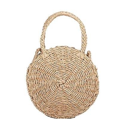 fd43f49f85 Amazon.com  HOSPORT Women Straw Handbag Round Straw Woven Shoulder Bags  Beach Zipper Totes  Home   Kitchen