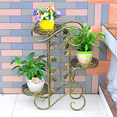 Étagères de porche Porte-grille en fer, support en 3 étagères Stand Bonsai Home Jardin Décor de patio étagères noir / or Support de plante de boîte à fleurs ( Coul