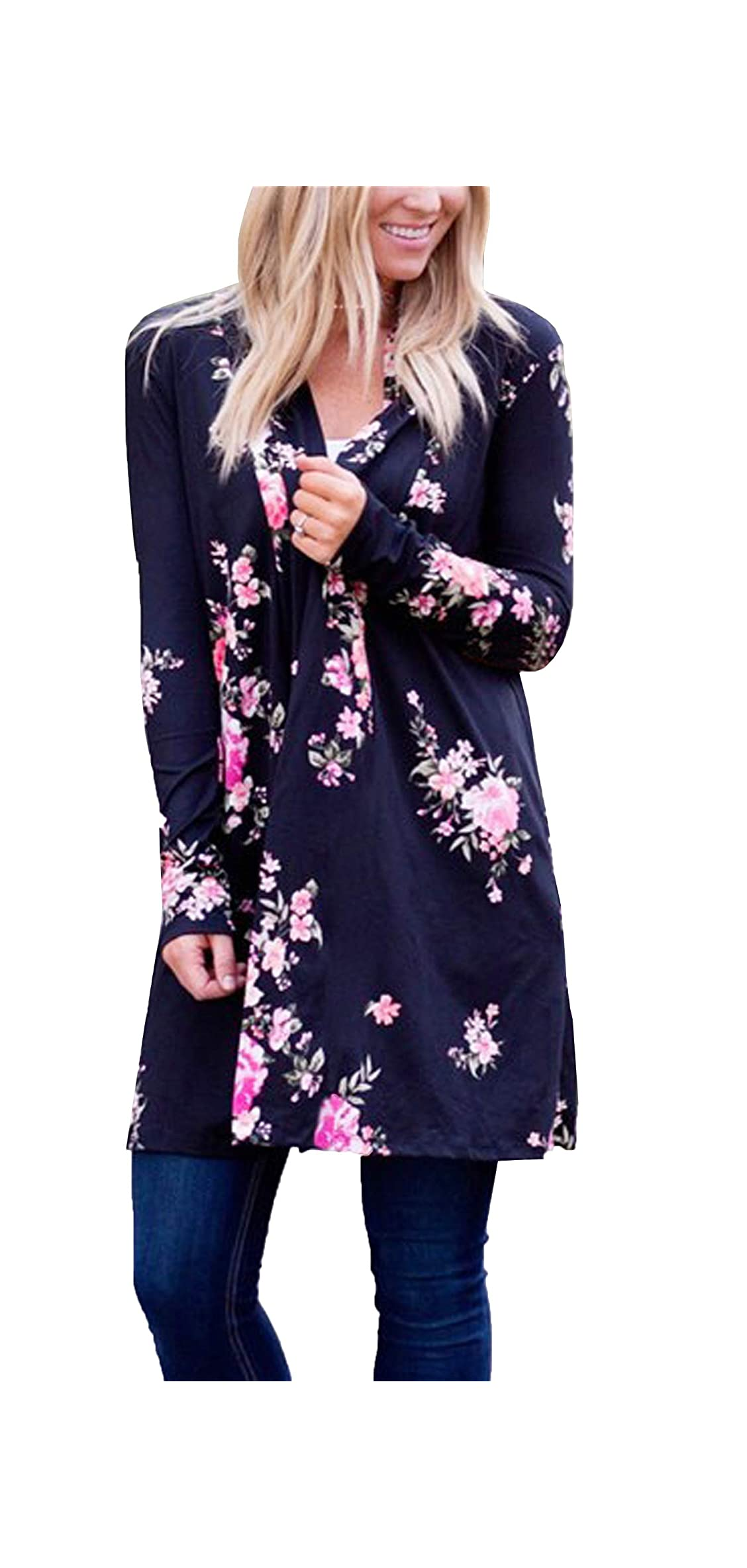 Womens Boho Irregular Long Sleeve Wrap Kimono Cardigans