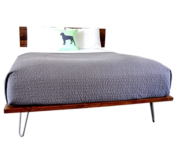 Amazon Com Platform Bed And Headboard On Hairpin Legs Full Size