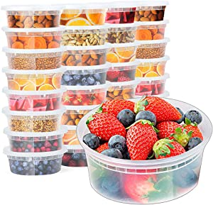 Glotoch 8oz Plastic Food Containers with Lids, Leakproof Slime Small Combo Pack [Reusable, Kitchen Storage,Lunch Meal Prep, Soup,Portion Control] Dishwasher, Microwaveable & Freezer Safe(1 Cup 24Pack)