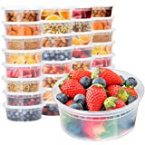 Glotoch 24 Pack Durable Plastic Microwaveable Reusable Clear Takeout Travel Deli Food Storage Containers with Lids Dishwasher and Freezer Safe BPA Free (8oz)