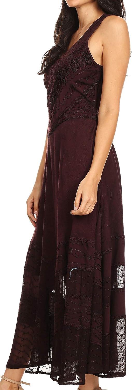 Sakkas Zendaya Stonewashed Rayon Embroidered Floral Vine Sleeveless V-Neck Dress Chocolate