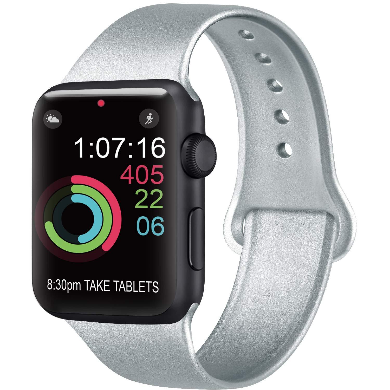 AK Compatibile Cinturino per Apple Watch 44mm 42mm 38mm 40mm, Cinturino Sport in Silicone Cinturino Uomo e Donna per iWatch Serie 5 4 3 2 1
