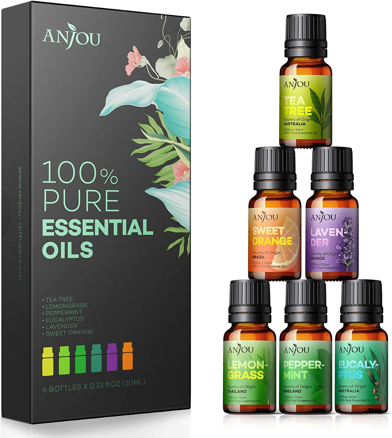 Anjou Essential Oils Set 6-Pack Gift Set Therapeutic Grade 10ml 100% Pure Natural for Aromatherapy Diffuser Skin Care Massage Home Fragrance