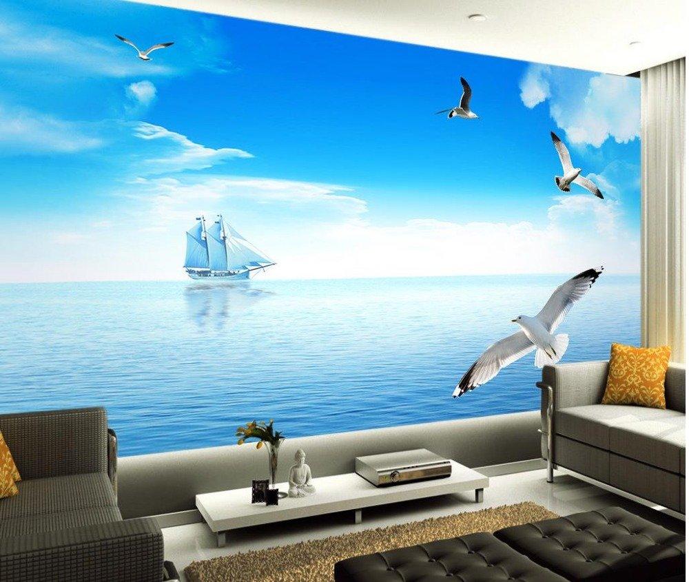 Lwcxカスタム写真壁画部屋の現代のミニマリストBeauty Sea View背景壁フォト3d壁紙シルクファブリック素材 ABWA03727  250X175CM B076J9FD2N