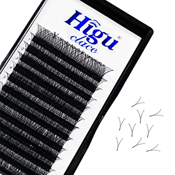 Volume Lash Extensions Y Shape 0.07mm D Curl 14mm Rapid Blooming Eyelash Extensions|C/D Curl Single Mix Length 8 15mm|(0.07 D 14mm) by Higuclace
