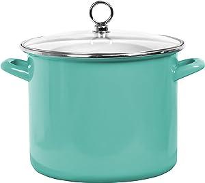Calypso Basics by Reston Lloyd Enamel on Steel Stockpot with Glass Lid, 8-Quart, Turquoise
