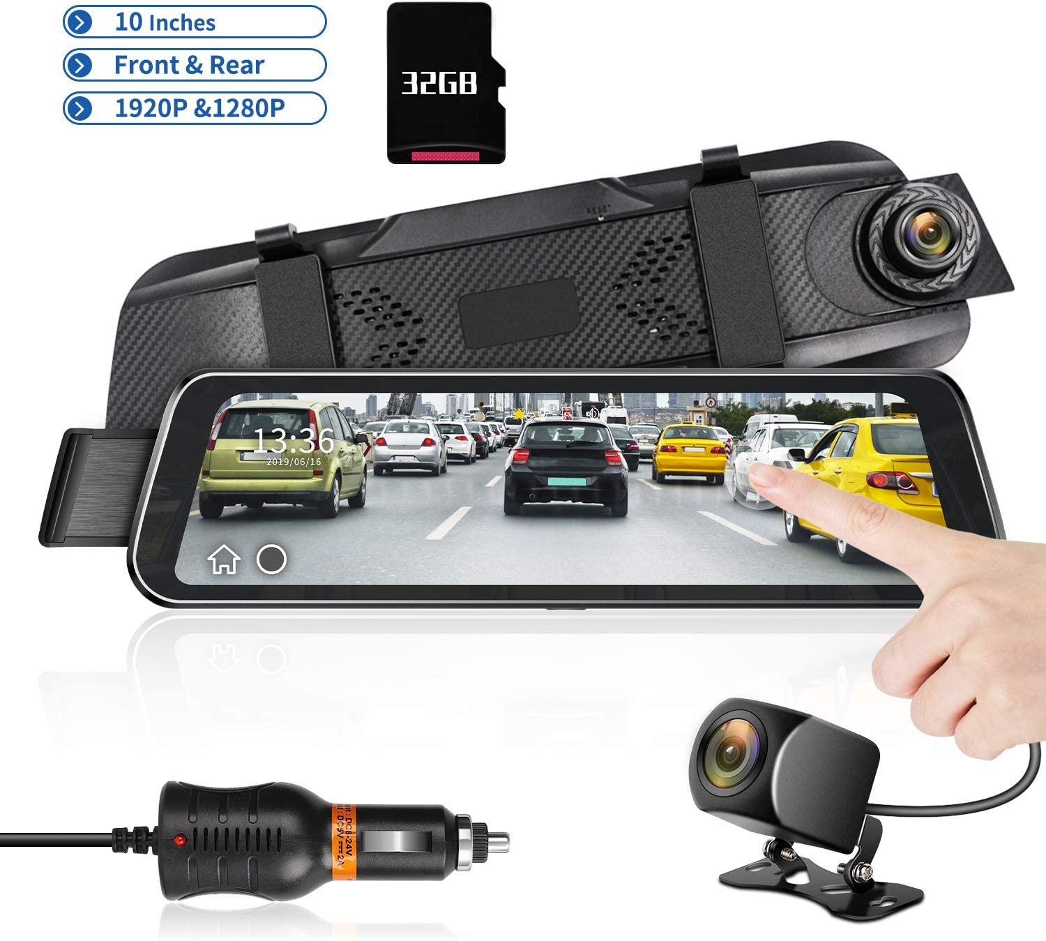 "Mirror Dash Cam 9.66"" HD Backup Camera, Dash Cam Front and Rear Dual Lens 1920P+1280P Full Touch Screen Video Streaming Rear View Mirror Camera with Waterproof, 32G TF Card Included"