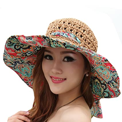 7fd9c985fc2 Outdoor Top Women s Beach Hats Foldable Straw Hat Uv Sun Hat Large Brim Cap  Totem Topee