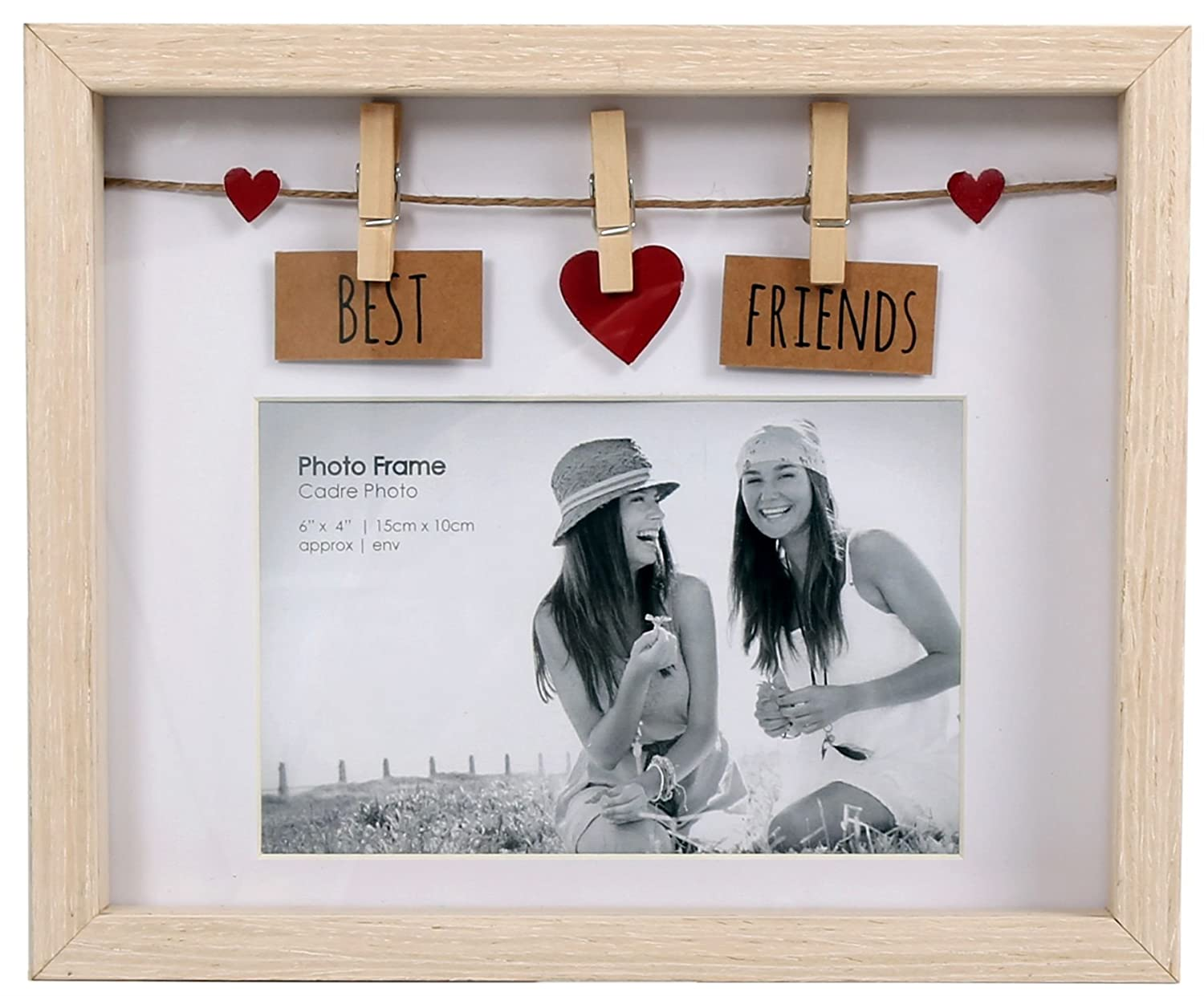 Clothes Line Wooden Box Frame With Pegs For 6 X 4 Photo - Best Friends Carousel Home