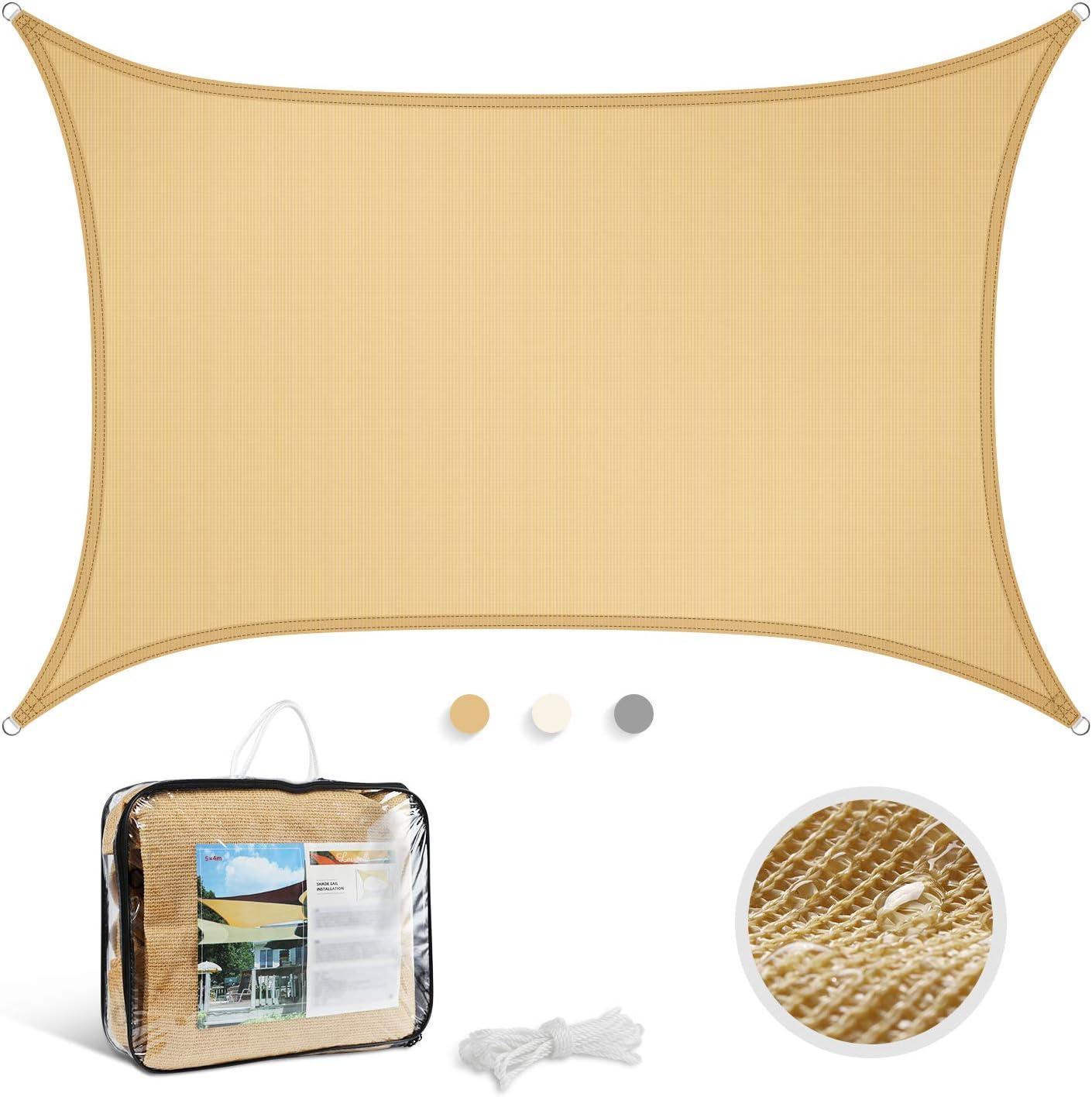 Levesolls Toldo Vela de Sombra Rectangular 4 x 3 m Protección Rayos UV Impermeable Resistente para Patio, Exteriores, Jardín, Color Arena