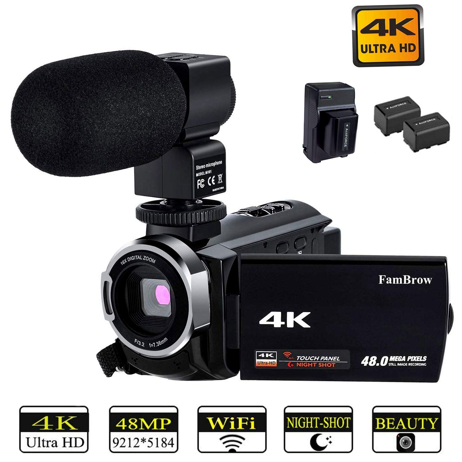 Video Camera 4K Camcorder,FamBrow Ultra HD Digital WiFi Camera with Microphone,48MP 3.0 Inch Rotatable Touch Screen IR Night Vision 16X Digital Zoom Recorder for YouTube Vlogging,2 Batteries