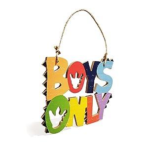 HnJOY Boys Only Wood Wall Decor - Dinosaur Theme Wooden Wall Sign - Boys Room Decoration - Nursery Room Decor for Boys Bed Room