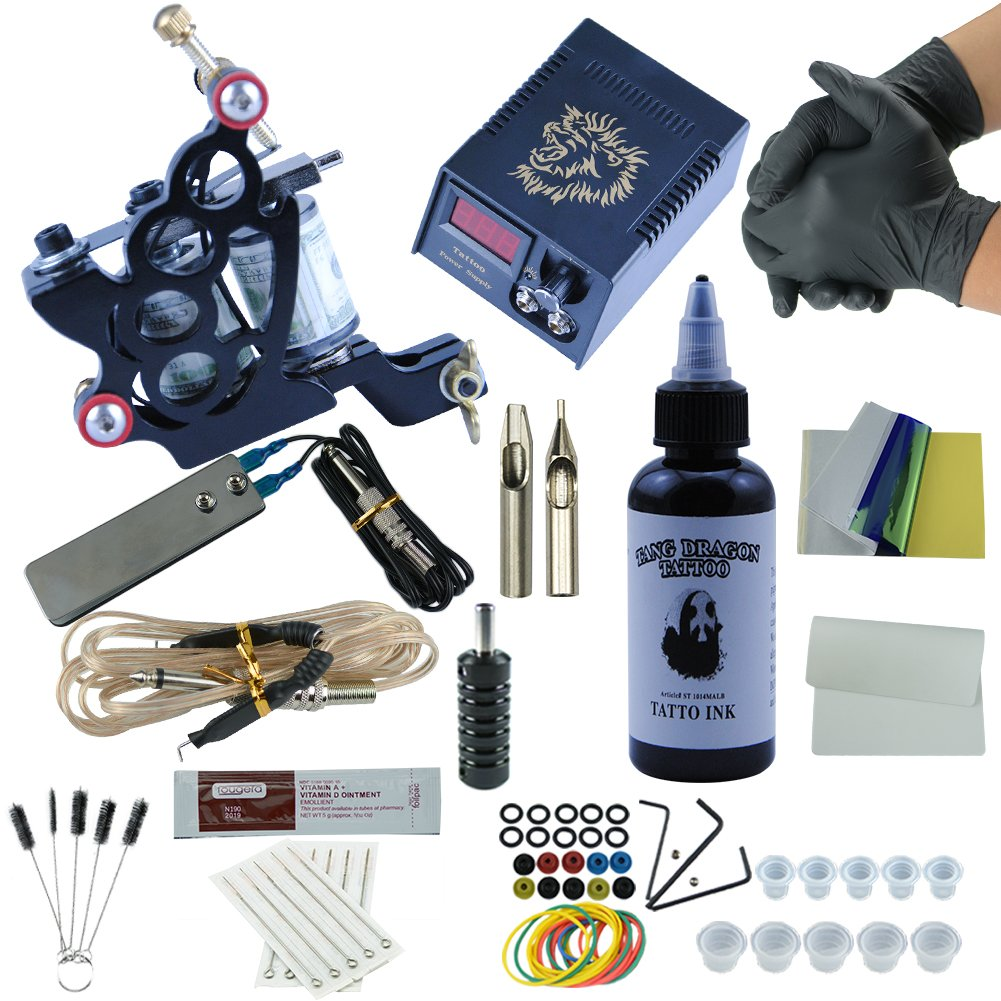 Fashionzone 1 Tattoo Machine 1 Tattoo Ink 5 Tattoo Needles 1 power supply Kit Tattoo Supplies Beginners Tattoo Kit