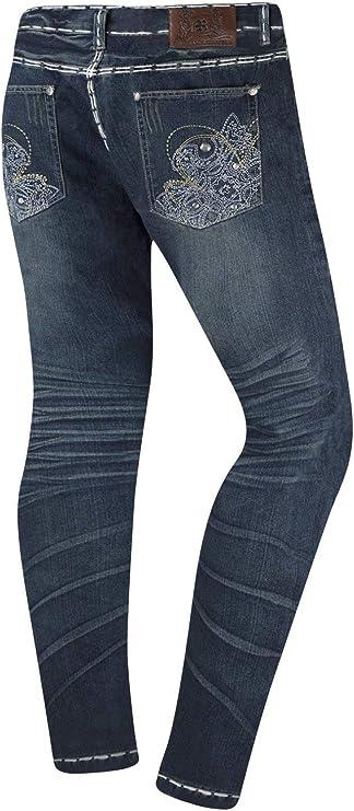NEW Men Fashion Denim Quality Stylish Baggy Loose fit Rhinestones White Stitches