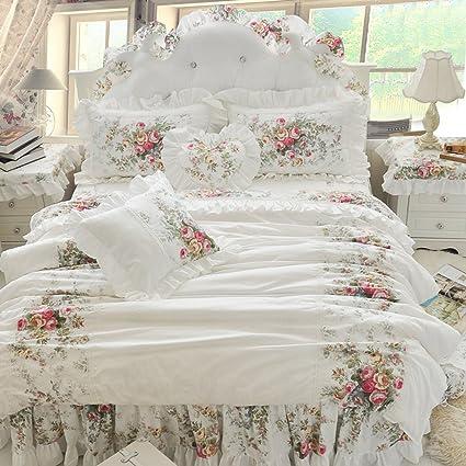 Amazon.com: MeMoreCool Romantic White Princess Bedding Set ...