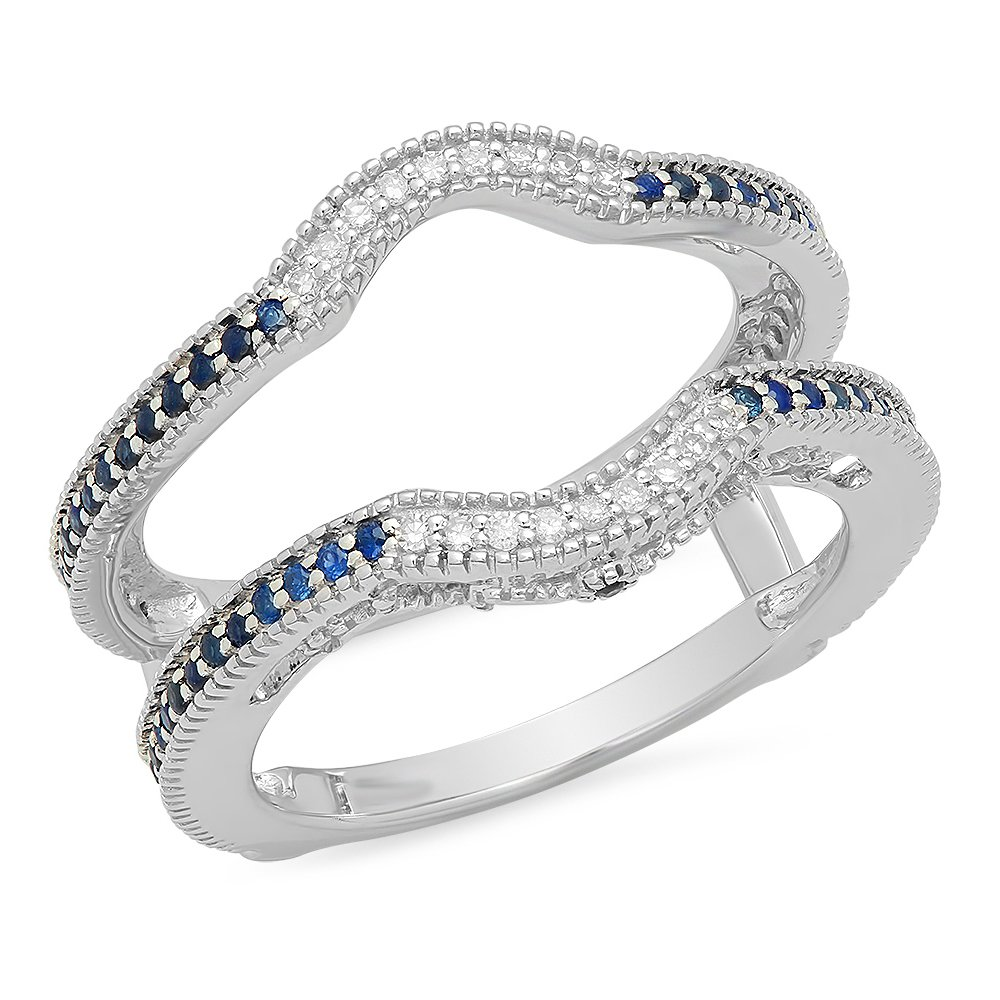 dazzlingjewelrycollection 0.50 Carat (Ctw) 14K White Gold Over Sterling Silver Round Blue Sapphire & White Diamond Ladies Anniversary Wedding Band Enhancer Double Guard Ring 1/2 CT by dazzlingjewelrycollection