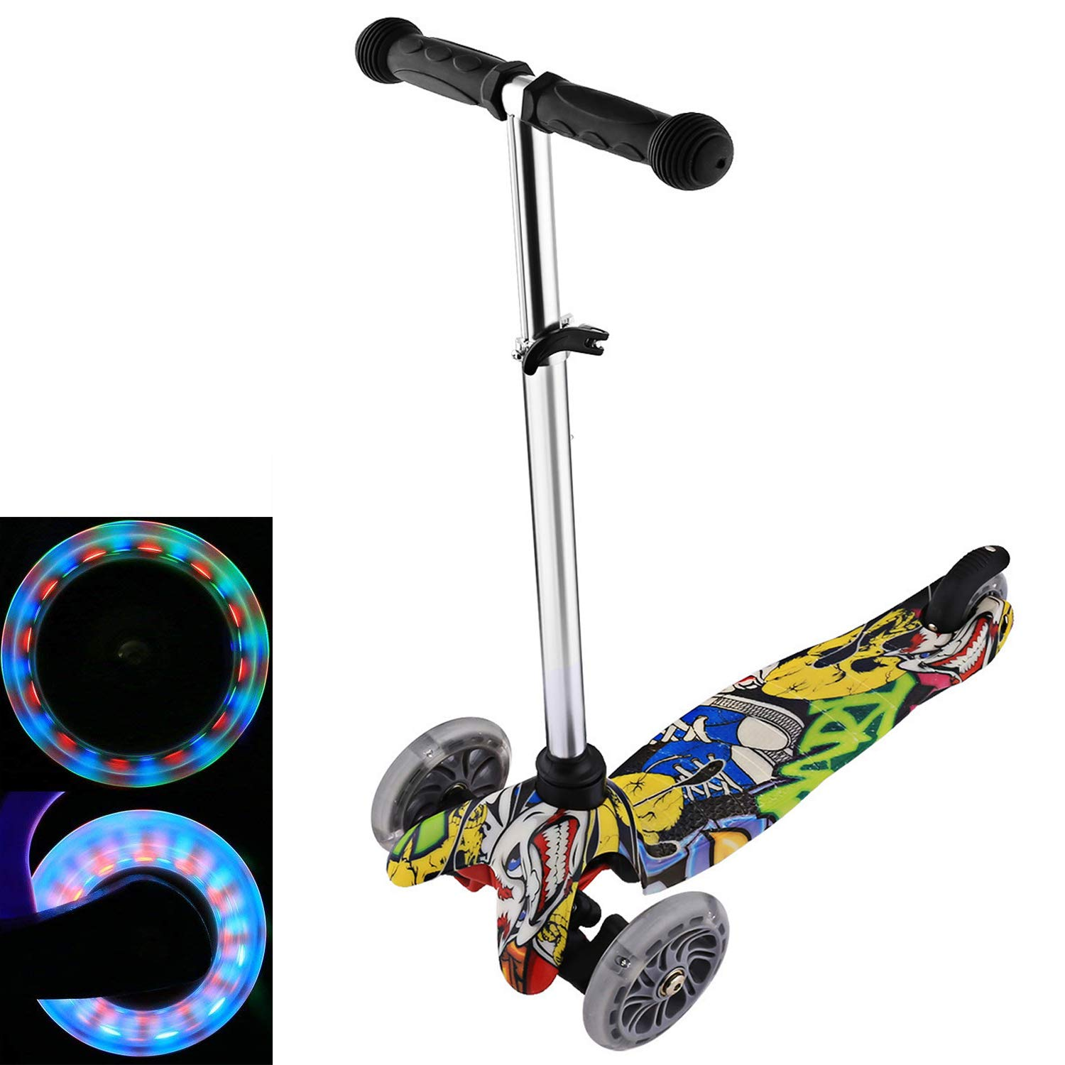 4 Adjustable Height Boys Girls Lean to Steer LED Light-Up Aceshin Mini Cool Kick Scooter for Kids 3 Wheel