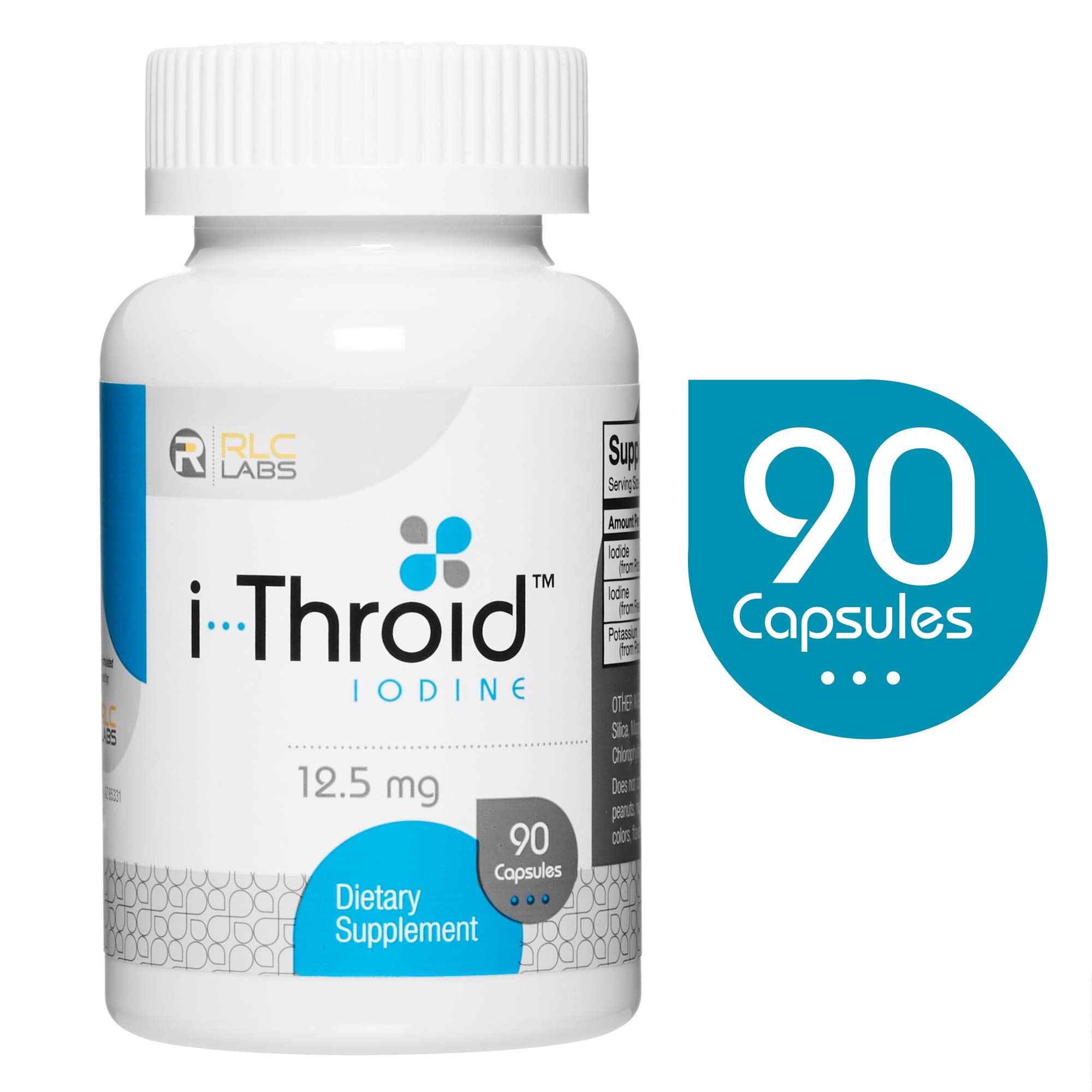 RLC, i-Throid 12.5 mg, Iodine and Iodide Supplement to Support Thyroid Health and Hormone Balance, 90 capsules (90 servings) by RLC Labs