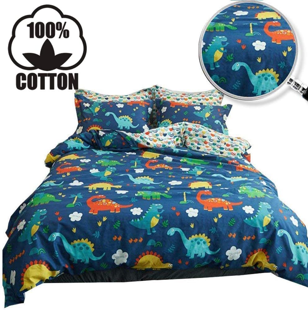 XUKEJU Reversible Kids 3 Pieces Animal Duvet Cover Cartoon Print Design Cute Dinosaur Bedding Set 100% Cotton Quilt Cover Full Queen Size Boys/Girls/Teens