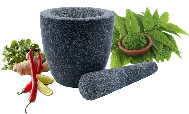 Pastes Seasonings Pestos and Guacamole Grade-A Global COMINHKPR145951 Kota Japan Large Natural Grey Granite Mortar /& Pestle Stone Grinder for Spices