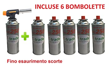 ALTIGASI Soplete Mini Quemador Linterna Soldador Gas Llama Soplete + 6 Cartuchos de Gas de G incluida: Amazon.es: Deportes y aire libre