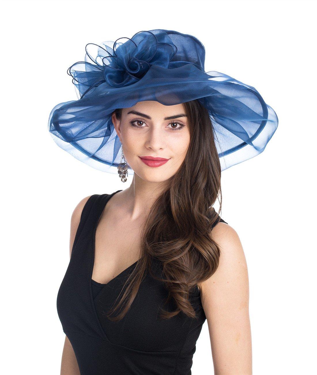 SAFERIN Women's Organza Church Kentucky Derby Fascinator Bridal Tea Party Wedding Hat (Navy with Bowknot)