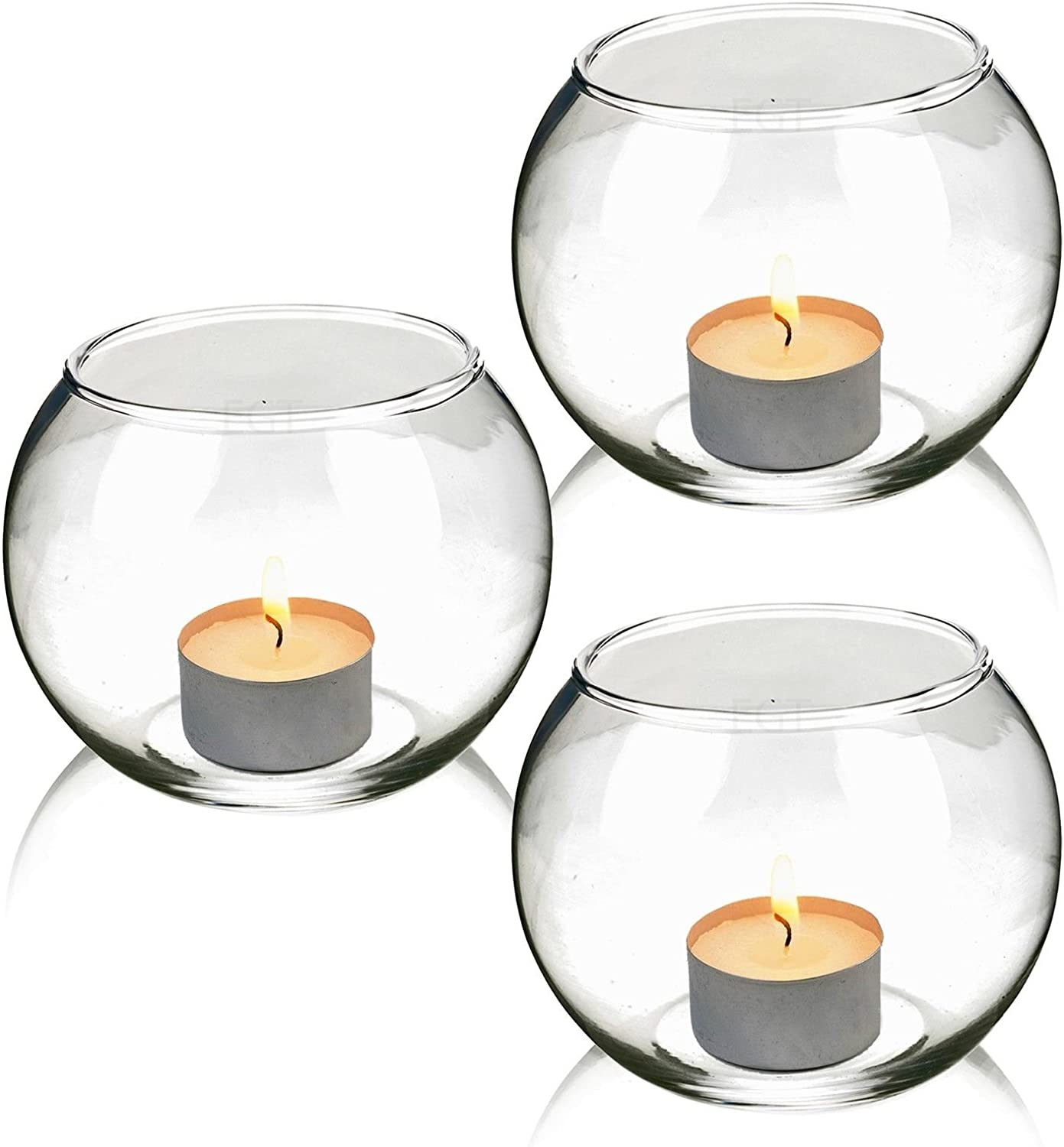 URBN LIVING /® Lot de 3/bougeoirs en Verre Ronde Small Set of 3 Round Glass Candle Holders Verre
