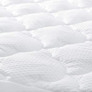 King Mattress Pad Thick Quilted Mattress Topper Cover, Super Soft Breathable and Noiseless Down Alternative Fiber Pillow Top Mattress Pad with Deep Pocket Fits Up to 18 Inch Mattress