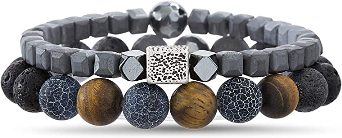 Set of 2 Lava Bead Stretch Bracelets in Stainless Steel