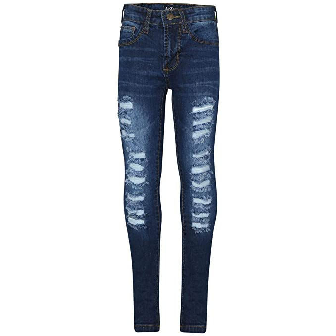 e8e6c8d849bb Amazon.com: Kids Girls Skinny Jeans Denim Ripped Fashion Stretchy Dark Blue  Pants Jeggings: Clothing