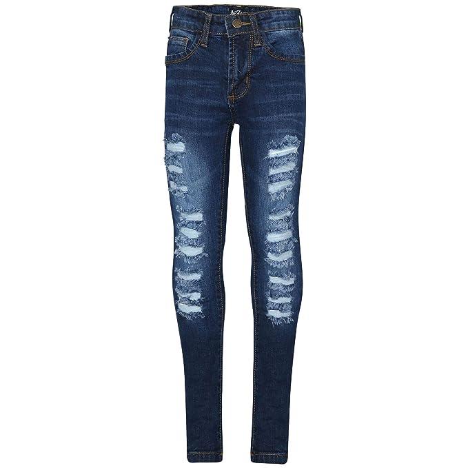 b22de327131 Amazon.com: Kids Girls Skinny Jeans Denim Ripped Fashion Stretchy Dark Blue  Pants Jeggings: Clothing